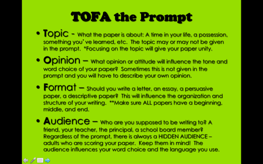 Teaching Writing to a Prompt
